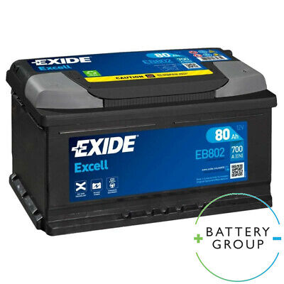EXIDE EB802 EXCELL CAR BATTERY 80AH 700A 110SE 315x175x175mm