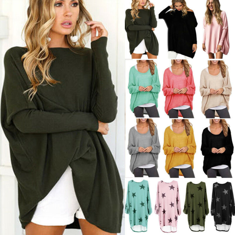 Women Baggy Long Sleeve Top Blouse Oversized Sweater Jumper