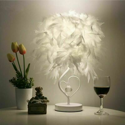 Feather Lampshade Table Lamp Vintage LED Night Light Desk Bed Home Decor