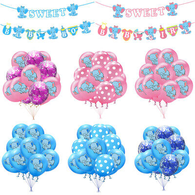 Elephant Party Supplies (Elephant Confetti Balloons Baby Shower Banner Kid Favor Party Decor)