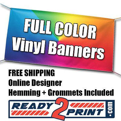 3 X 8 Full Color Custom Printed Banner 13oz Vinyl - Free Shipping