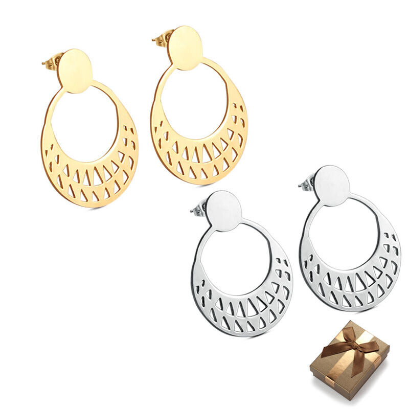Silver/Gold Stainless Steel Round Stud Earrings For Women Gi