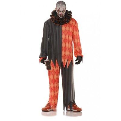Scary Evil Killer Clown Adult Costume Zombie Jester Halloween Orange Std-XXL](Xxl Clown Costume)