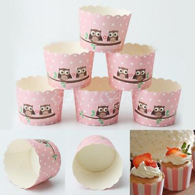 50pcs Pink Polka Dot Owl Pattern Paper Cake Cupcake Baking Cup Muffin Cases