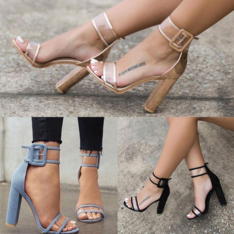 Sandalo donna con fascia e cinturino trasparente scarpa tacco alto
