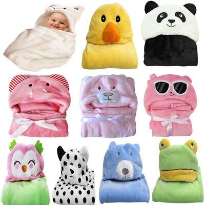 DE Neugeborenes Baby Flanell mit Kapuze Decke Badetuch Kinder Tier Bademantel