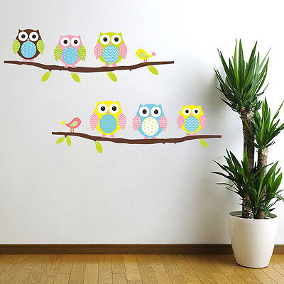 Colour Owl Birds Branch Wall Decal Removable Stickers Kids Nursery Art Mural DIY