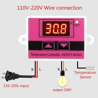 W3001 Ac 110v-220v Temperature Controller Thermostat Switch Digital Led L