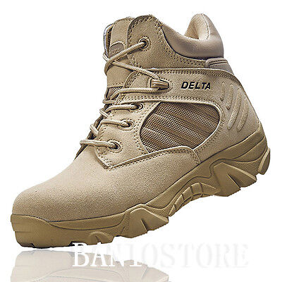 Men's Military Ankle Boot Tactical Leather Desert Combat Hiking Shoes Comfort S7