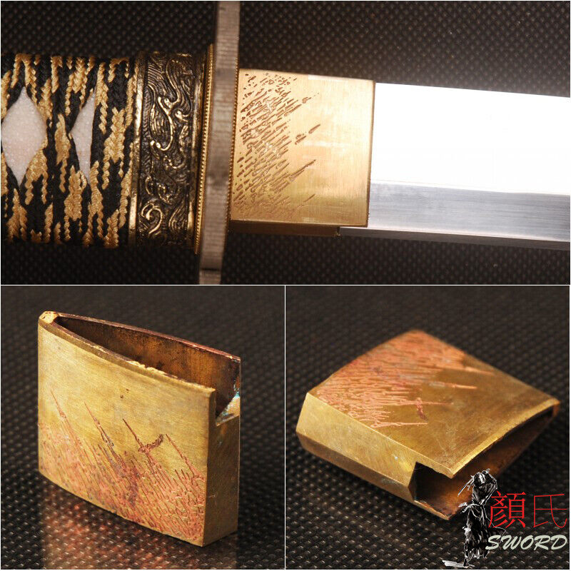 Cool Arrow Rain Engraved Brass Habaki Collar For Japanese Samurai Sword Katana