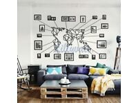 Metal World Map Wall Art With Frames