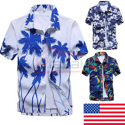 US Mens Hawaiian Summer Floral Printed Beach Short Sleeve Camp Shirt Tops - Adult Holidays For Men