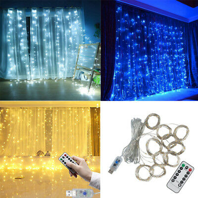 300 LED Fairy String Hanging Curtain Light Outdoor Xmas Party Lights & Remote (Led Hanging Lights)