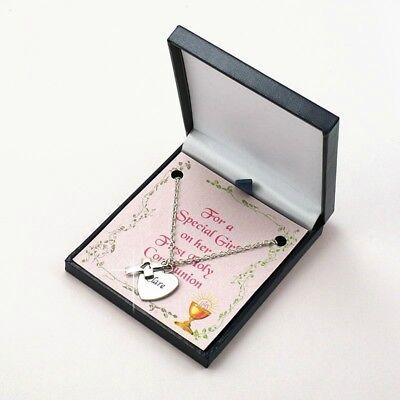 Halskette mit Jede Gravur für Mädchen Heilige Erstkommunion Geschenk, (Erstkommunion-geschenk Für Mädchen)