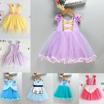 Baby Girl Princesss Cinderella Rapunzel Belle Kid Tutu Dress Kids Birthday Party - Cinderella Clothes