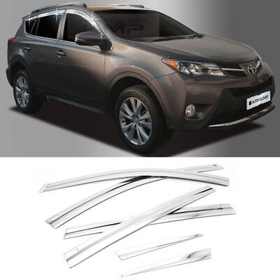 Chrome Window Sun Vent Visor Rain Guards 6P D690 For TOYOTA 2013 - 2018 RAV4