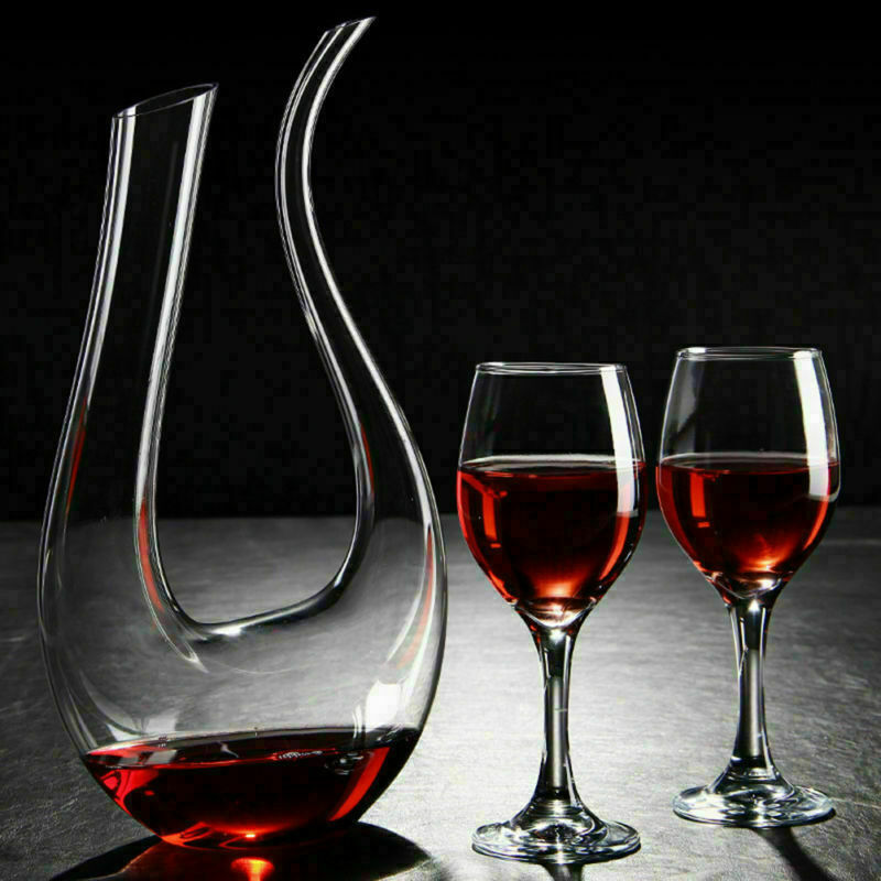 1500ML Wine Decanter U Shaped Luxuriou Crystal Glass Wine Pourer Red Wine Carafe