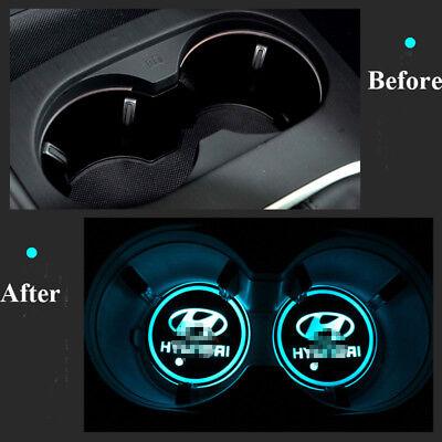 2Pcs LED Colorful Car Cup Mat for Hyundai Auto Interior Atmosphere Light 2X (03 Sonata 5 Light)