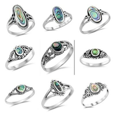 New  925 Sterling Silver    Abalone   Stone Rings Size 4 10