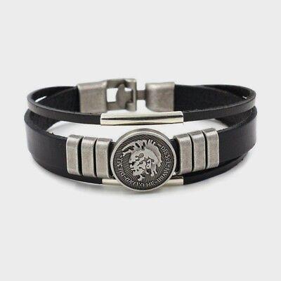Diesel Armband Damen Herren Lederarmband in Schwarz