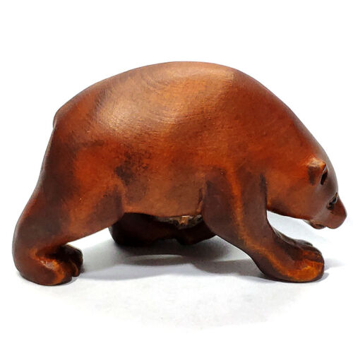 """Y7289 - 2"""" Hand Carved Boxwood Carving Netsuke : Bear"""