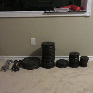 395 Pounds of Standard Steel weights + Dumbbells