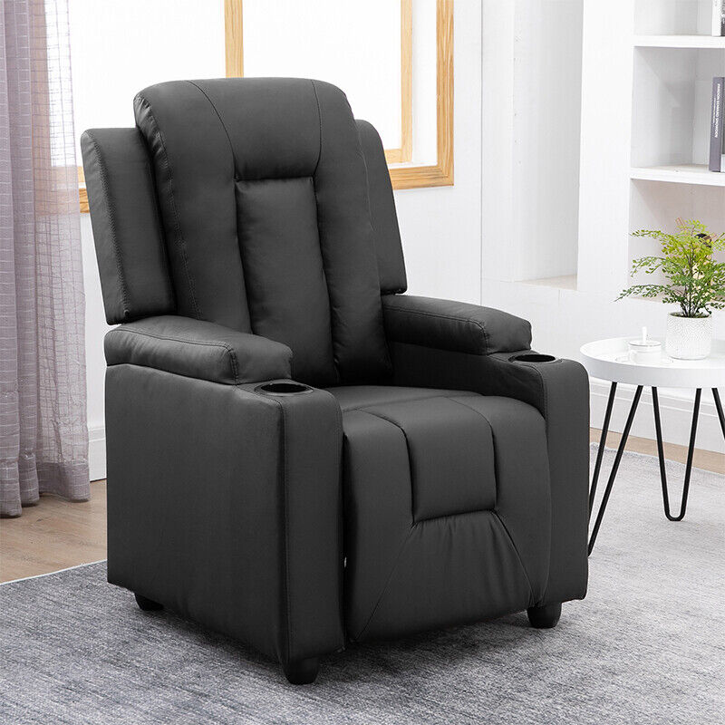 Black Recliner Chair Upholstered Armchair PU Leather Single Sofa Adjustable New