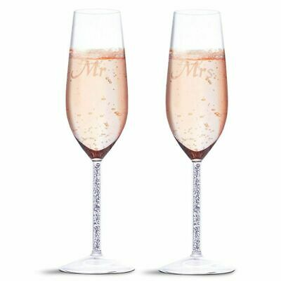 2 Piece Set Wedding Champagne Toasting Flutes - Engraved Mr. and Mrs. Glasses