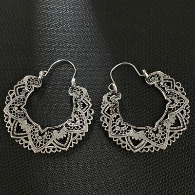 Mandala Flower Tribal Ethnic Hollow Hoop Earrings, Boho Gypsy Hippie Style - Hippie Earrings