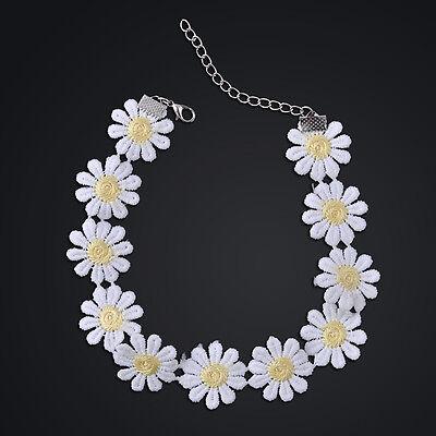 (Sweet White Lolita Lace Choker Cute Daisy Flower Yellow Collar Necklace Jewelry )