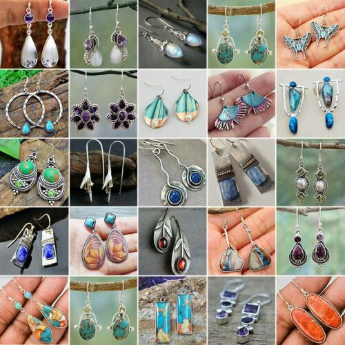 Jewellery - Women Silver Turquoise Ear Hook Stud Dangle Drop Moonstone Sapphire Earrings