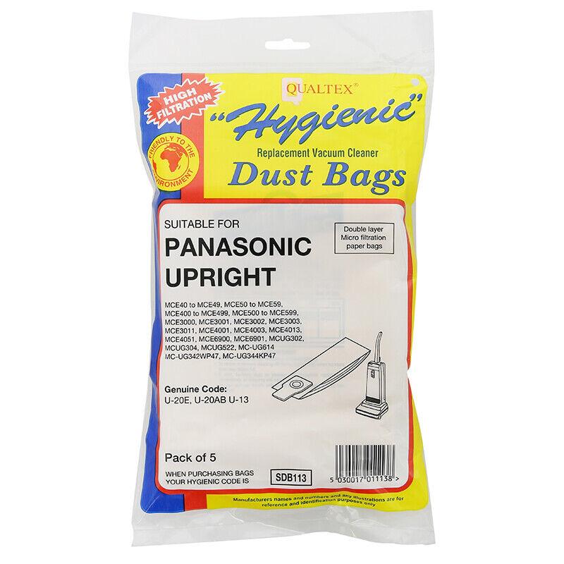 FITS PANASONIC UPRIGHT MODELS VACUUM CLEANER DUST PAPER HOOVER BAGS U-2E U20E