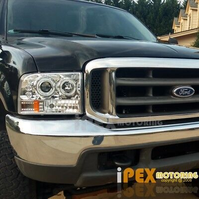 NEW 1999 2004 Ford F250F350 SUPER DUTY Halo LED Projector Headlights Chrome