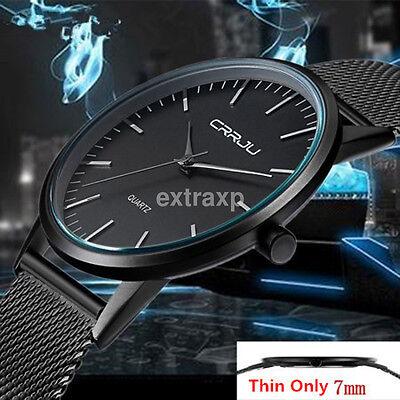 Luxury Casual Men Watch Sport Stainless Steel Quartz Analog Wrist Watches Black