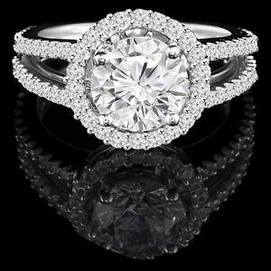 Bague de fiançailles en or blanc 1.25CTW Diamond engagement ring