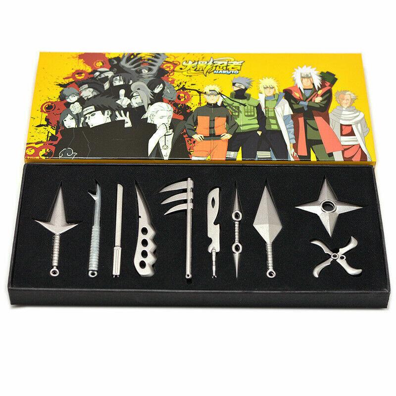10Pcs/Set Anime Natuto Kunai Weapon Set For Ninja Cosplay Knives Boxed