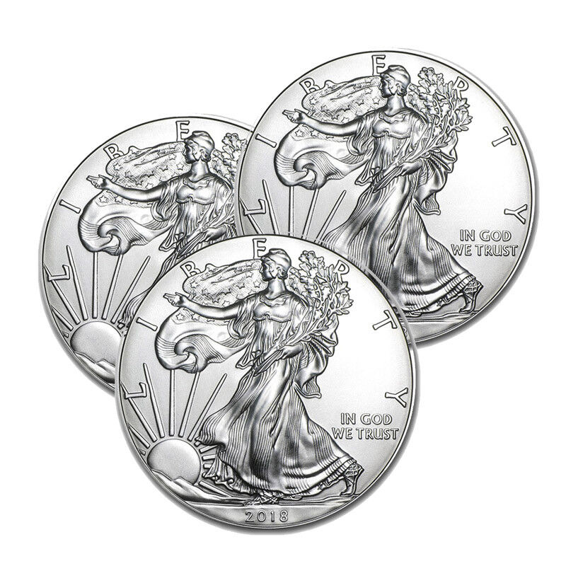 Lot of 3 Silver 2018 American Eagle 1 oz. Coins .999 fine silver US Eagles 1oz