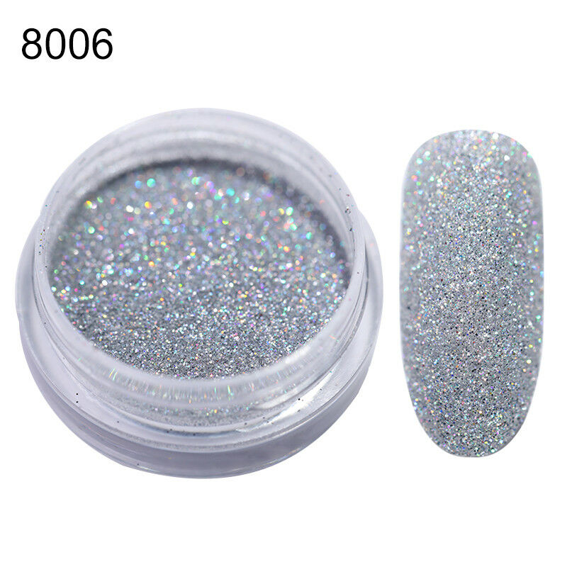 1G Nail Art Holographic Glitter Powder Dust Gray Holo Laser Shining Nails Tips