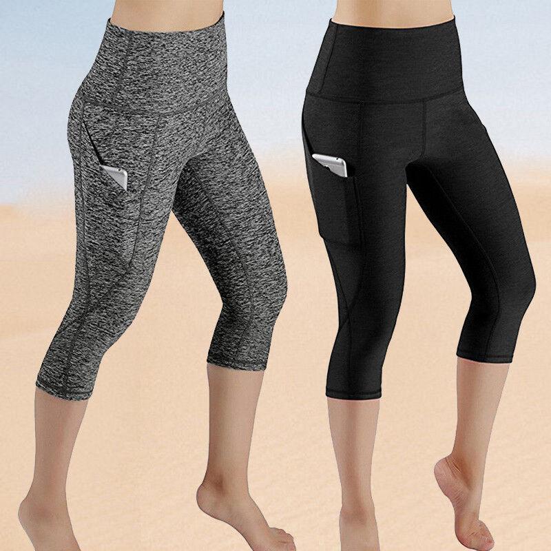 Women 3/4 Capri Yoga Fitness Leggings Pants Gym Running Stre