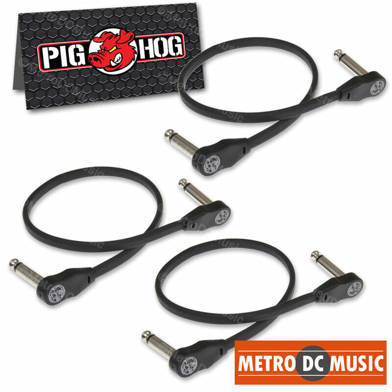 """3-Pack Pig Hog Low Profile Flat 12"""" Right-Angle Patch Cable Cord Pedal 1 ft NEW"""