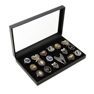 36 Slots Retail Jewelry Ear Stud Ring Display Tray Holder Velvet Pad Box Case