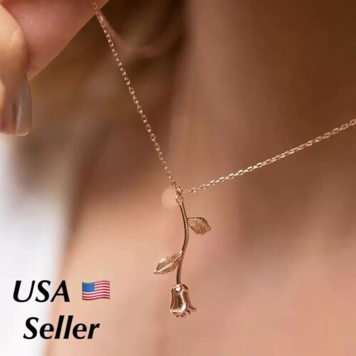 Rose Flower Pendant Necklace I Love You – 3 colors Girlfriend Wife Gift N90 Fashion Jewelry