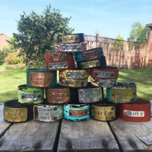 Lot of 20 Hand-Stamped Leather Bracelet Cuffs