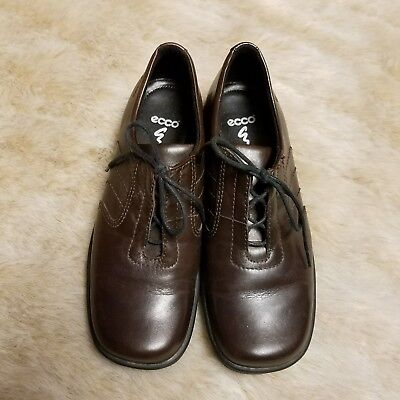 ECCO Womens Sz 4 Brown Lace Up Leather Loafers Oxford Shoes Latex Soles