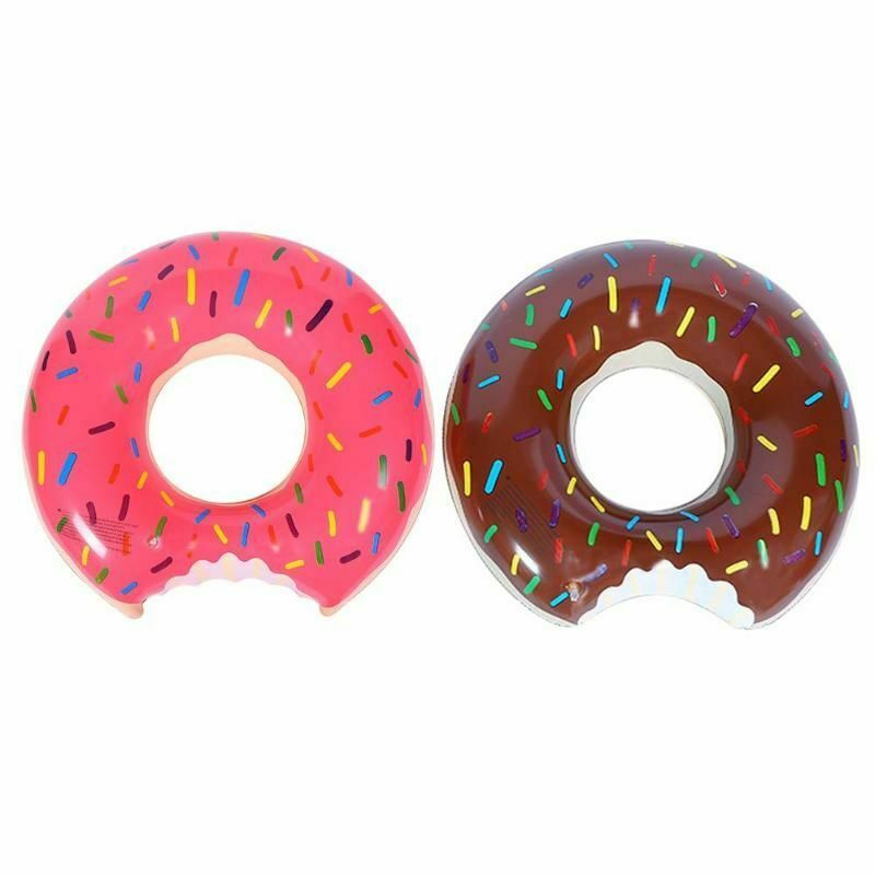 Vech Gigantic Donut Inflatable Pool Water Raft Pool Float PVC Outdoor Lounge Swimming Pool Large Toy Funny Swimming Pool Floats Donut Swim Ring With Handle