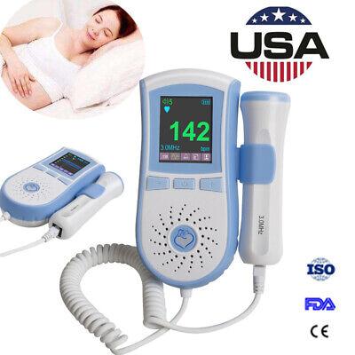 Lcd Pocket Fetal Doppler 3mhz Probe Baby Heart Monitor Dual Interface Display