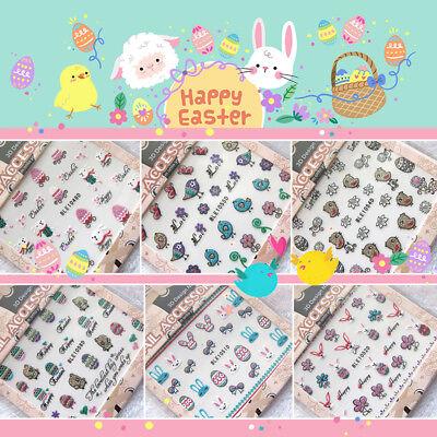 Happy Easter  Nail Sticker Self Adhesive Glitter Spring Bunny Egg Rabbit Bird