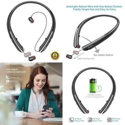 Bluetooth Headphones, Doltech Wireless Neckband Headset With Retractable Earbuds