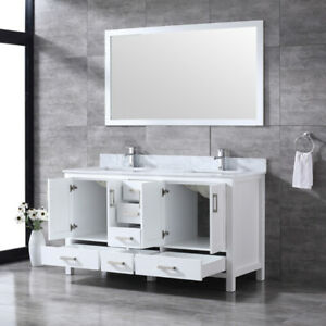 "60""(DOUBLE SINK) Wood Bathroom Vanities with Quartz Countertop"