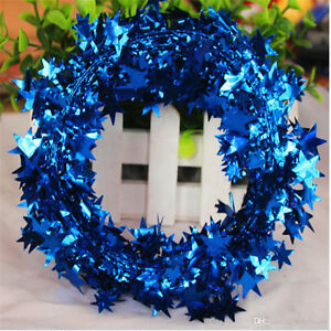 Christmas Holiday Season Tinsel Wreath - Blue
